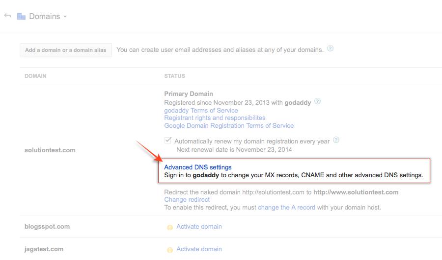 Domain Setup in Google Apps